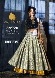 Anju modi Choli Designs, Lehenga Designs, Blouse Designs, Indian Attire, Indian Ethnic Wear, India Fashion, Asian Fashion, Women's Fashion, Indian Dresses
