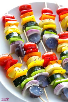 Rainbow Veggie Skewers | Gimme Some Oven