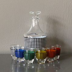 Mid Century Bar Decanter Set with Shot Glasses by LadyfromShanghai, $45.00