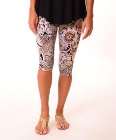 Look at this #zulilyfind! Tan Geometric Capri Leggings #zulilyfinds
