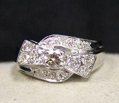 (23-00573-02) 14k White Gold Diamond Bow Ring