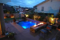 THE SOLUTION (After): Swim Spa in Place of Pool. Add Outdoor Fire Pit. Add Water Features. Add Tanning Ledge. Add Putting Green. Add More Green Space. Add Covered Patio. Add More Entertainment Seating Area.