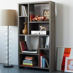 Rectangle Cutout Bookcase - Pecan