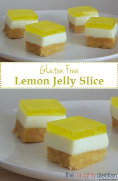This Gluten Free Lemon Jelly Slice is the perfect treat for spring or summer. It's super easy to make and contains only 7 ingredients! | Gluten Free Dessert | Gluten Free Recipes | Easy Gluten Free Recipes | Dessert | Jelly Slice | Lemon Dessert | www.thenaughtydietitian.com