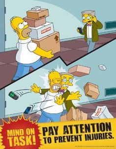 Simpsons Workplace Safety Poster - Pay Attention To Prevent Injuries