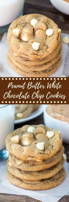 The softest, chewiest Peanut Butter Cookies . A perfect combo of sweet & salty - they taste just like a white chocolate peanut butter cup!