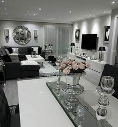 113 excellent living room ideas with lighting -page 29 de diseño de interiores Glam Living Room, Living Room Decor Cozy, Elegant Living Room, Home Decor Bedroom, Home And Living, Living Room Goals, Modern Living, Silver Living Room, Cozy Living