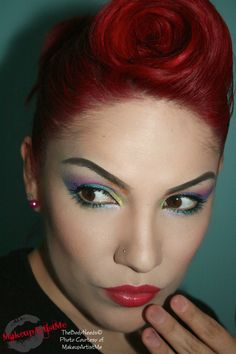 """""""In Rainbows!""""  Juniper, Cherry Love, Atlantis, Tangerine, Grape Soda, Beyond Teal, Holo-Blue glitter and Shimmers pink. On my lips, I used Mac's Insanely It. MakeupArtistMe"""