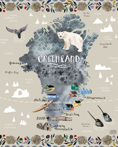 Greenland Illustration by Katie Vernon Travel Maps, Travel Posters, Places To Travel, Greenland Travel, Lappland, Thinking Day, Design Thinking, Travel Illustration, Arctic Circle