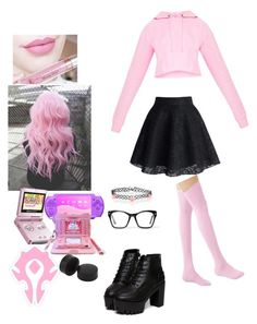 """Lil pastel goth gamer"" by prettylittleraven ❤ liked on Polyvore featuring Anastasia Beverly Hills, Nintendo, Chicwish, Accessorize and Spitfire"