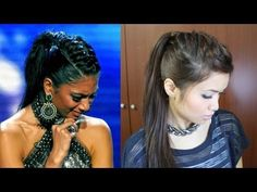 ▶ Nicole Scherzinger French Braid Edgy Ponytail Hairstyle for Medium Long Hair Tutorial - YouTube