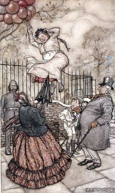 Balloons, illustration from Peter Pan in Kensington Gardens, by J.M Barrie, published 1906 by Arthur Rackham