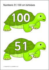 Numbers 51-100 on tortoises (SB10816) - SparkleBox