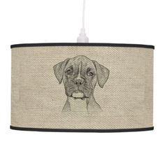 Awesome Adorable Funny Trendy Boxer Puppy Dog Hanging Lamp