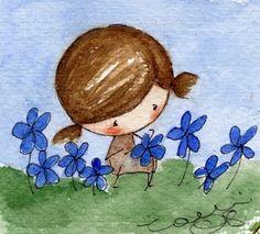 Cogiendo flores.