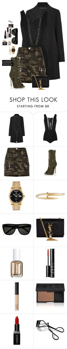 """""""Untitled #911"""" by andressabrandao1 ❤ liked on Polyvore featuring The Row, Givenchy, River Island, Rolex, Cartier, Yves Saint Laurent, Essie, NARS Cosmetics, Smashbox and Bobbi Brown Cosmetics"""