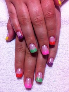 Gel nails Colorful tips