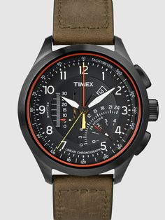 Timex - Iq Mens Linear Black Dial Olive Strap