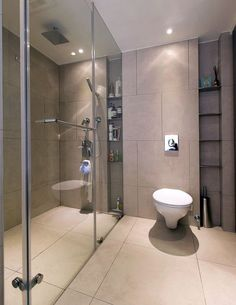 Long Shower Niche Design Ideas, Pictures, Remodel and Decor -- Could we do little niche shelving like this near the toilet? Modern Bathroom Tile, Brown Bathroom, Bathroom Colors, Bathroom Interior Design, Small Bathroom, Cream Bathroom, Interior Modern, Bathroom Designs, Master Bathroom