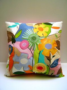 Pizzazy Jazzy Fleurs - hand painted pillow - Abstract - Zany - Colorful flowers - 18X18 - Home decor - Art. $75.50, via Etsy.