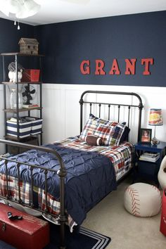 Navy & White boys room with vintage accessories.