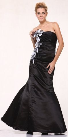 CLEARANCE - Black Satin Ruched Mermaid Formal Gown for only $29.99 #discountdressshop #strapless #promgown #prom #prom2k17