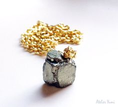 Pyrite Necklace Metallic Rough Cube Geometric by AtelierYumi, $28.00