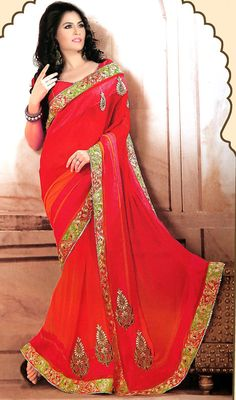 Orange and Red Georgette Saree Price: Usa Dollar $98, British UK Pound £58, Euro73, Canada CA$106 , Indian Rs5292.