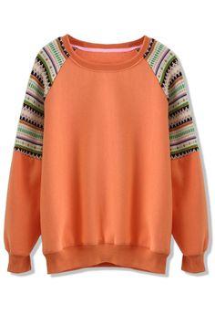 Orange Sweater with Fair Isle Detail