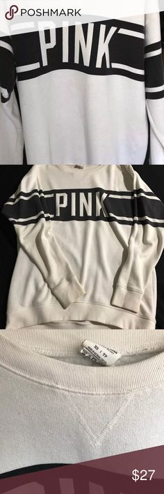 VS PINK Oversized Crewneck White and black crew neck size XS (can fit up to a Medium) Has piling and slight discoloration *includes a polka dot pink and white PINK dog PINK Victoria's Secret Sweaters Crew & Scoop Necks