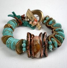 Turquoise Mixed Metal Bracelet, a Beaded Bracelet with Leather, Handcrafted Bronze and Copper PMC, Turquoise and Mexican Fire Opal-Taos. $259.00, via Etsy.