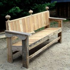Large garden bench entirely made from recycled pallets. Its shape and colors are inspired by baroque furniture and gives a romantic touch in the backyard. Pallet Garden Benches, Pallet Crates, Outside Benches, Porch Bench, Baroque Furniture, Recycled Pallets, Repurposed Items, Autumn Garden, Adirondack Chairs