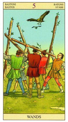 Resultado de imagen para 5 of wands tarot