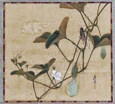 Shibata Zeshin | Grasshopper on Gourd Vine | Japan | Meiji period (1868–1912) | Asian Art Museum.