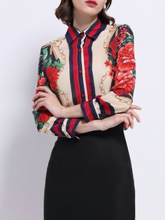 Shop Blouses - Shirt Collar Floral Long Sleeve Silk Vintage Blouse online. Discover unique designers fashion at StyleWe.com.