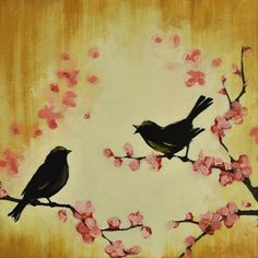 Goldfinches on cherry blossoms. This would look awesome in my bedroom!