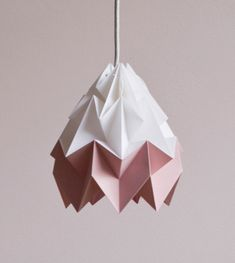 Moth origami lampshade pink and white
