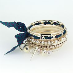 Fashion Bracelets Alloy Imitation Pearl Blue Point Cloth Art  Multilayer Bangle Bracelet for Girls Charm Jewelry