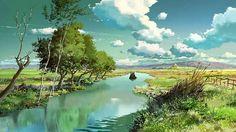 Children Who Chase Lost Voices (Hoshi wo Ou Kodomo) Fantasy Landscape, Landscape Art, Fantasy Art, Studio Ghibli Background, Animation Background, Sky Anime, Anime Art, Hayao Miyazaki, Fantasy Places