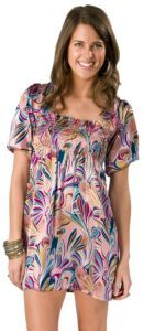 Cotton Express Ladies Pink with Multi Print Satin Short Sleeve Dress $24.00