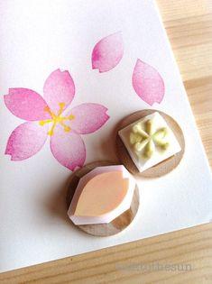 Clay Stamps, Cherry Blossom Petals, Flower Petals, Block Craft, Flower Stamp, Diy Arts And Crafts, Diy Crafts, Spring Crafts, Craft Items