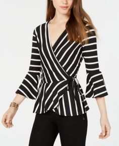 Bcx Juniors' Striped Bell-Sleeve Wrap Top - Pat E XL Blouse Styles, Blouse Designs, Couture Tops, Blouse Dress, Classy Outfits, Fashion Line, Tunic Tops, Fashion Outfits, Fashion Design