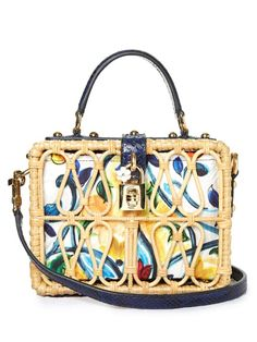 Dolce & Gabbana Majolica-print leather and wicker box bag