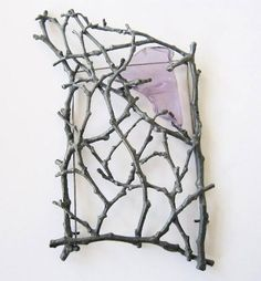 Georg Dobler Brooch: Untitled, 2013 Twigs cast from nature, oxidized silver, glass