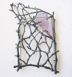 Brooch by Georg Dobler. Oxydized silver, amethyst
