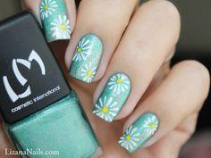 Flower Power [Nail Art] #nailart #floral #blue #springnails #nails #polish - bellashoot.com