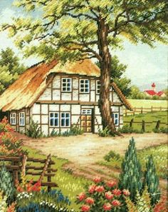 This Pin was discovered by Nev Cross Stitch House, Cross Stitch Kits, Cross Stitch Designs, Cross Stitch Patterns, Storybook Cottage, Cottage Art, Hand Embroidery Stitches, Cross Stitch Embroidery, Cross Stitch Landscape
