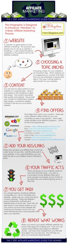 The 7 Step Affiliate Marketing Guide For Newbies - Infographic