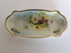 Royal Rudolstadt Prussia B Violets Daisies Celery Plate Gold Trim Antique Dish