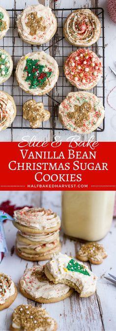 Slice & Bake Vanilla Bean Christmas Sugar Cookies | halfbakedharvest.com @hbharvest